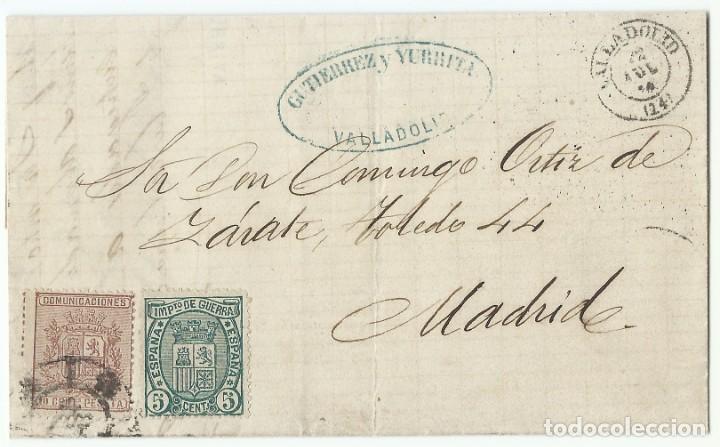 22/07/1875. VALLADOLID A MADRID, EDIFIL 153 Y 154 MATASELLOS RUEDA CARRETA 14 (Sellos - España - Alfonso XII de 1.875 a 1.885 - Cartas)