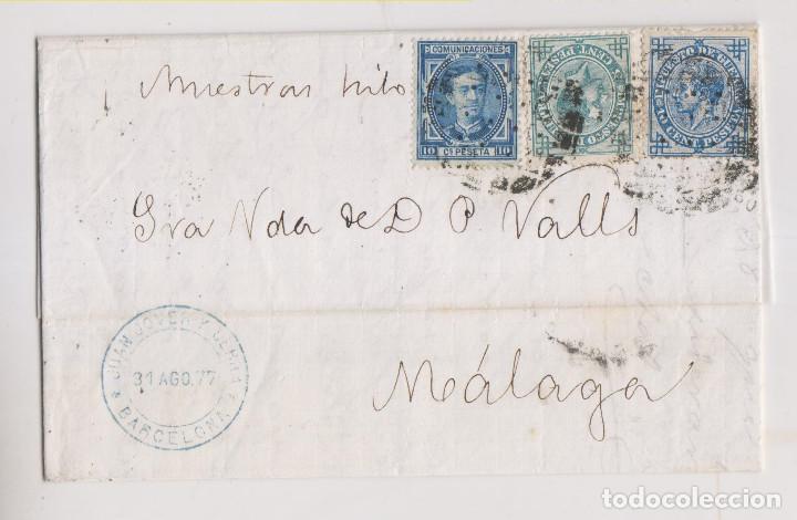 CARTA ENTERA. BARCELONA. 1877. A MÁLAGA. MUESTRAS DE HILO. IMPUESTO DE GUERRA (Sellos - España - Alfonso XII de 1.875 a 1.885 - Cartas)
