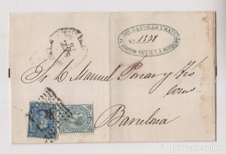 ENVUELTA. SEVILLA. 1876. MARCA COMERCIAL. IMPUESTO DE GUERRA (Sellos - España - Alfonso XII de 1.875 a 1.885 - Cartas)