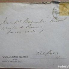 Sellos: CIRCULADA 1918 DE BARCELONA A ALFARO RIOJA. Lote 199153271