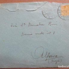 Sellos: CIRCULADA 1920 DE IRUN GUIPUZCOA A ALFARO RIOJA. Lote 199153638