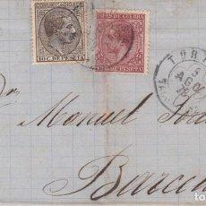 Francobolli: ENVUELTA CON SELLOS NUM. 188 Y 192 DE TORTOSA A BARCELONA 1878 - FECHADOR DE TREBOL . Lote 199316505