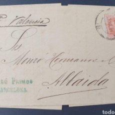 Sellos: 1882. ED. 210 ALFONSO XII. 15 CTS. EN CARTA CIRCULADA DE BARCELONA A ALBAIDA ( VALENCIA).. Lote 202729885