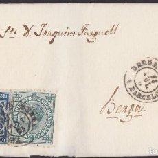 Sellos: 1876. A BERGA. 10 CTS. AZUL Y 5 CTS. IMPUESTO DE GUERRA ED. 175-183. FECHADOR TIPO II DE BERGA.. Lote 203267436