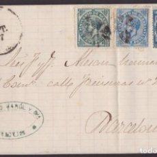 Sellos: 1877. REUS A BARCELONA. 5 Y 10 CENTS. IMPUESTO DE GUERRA ED. 183-184 Y 10 CENTS. ED. 175 MAT. ASPAS.. Lote 203285321