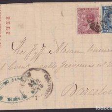 Sellos: 1878. REUS A BARCELONA. 15 CTS. ED. 188 Y 10 CTS. ED. 175 MAT. ASPAS.. Lote 203285407