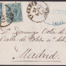 Sellos: 1876. LINARES A MADRID. 10 CTS. PESETA ED. 175 Y 5 CTS. IMPUESTO DE GUERRA ED. 183 MAT. FECHADOR.. Lote 203287341
