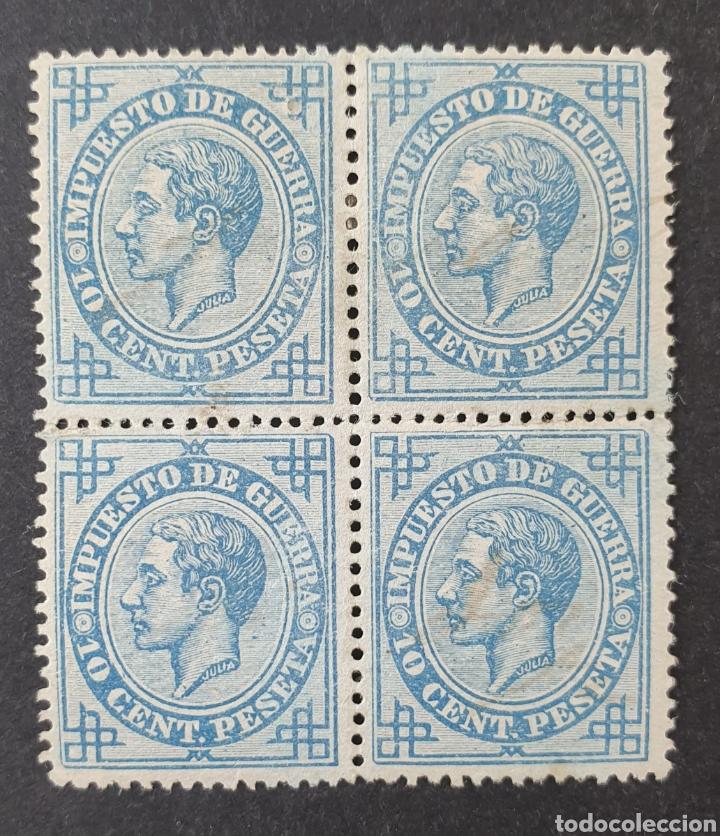 1876 ED 184*,** ALFONSO XII, 10 CTS EN BLOQUE DE 4 SELLOS, NUEVOS CON GOMA ORIGINAL. 2 CON CHARNELA. (Sellos - España - Alfonso XII de 1.875 a 1.885 - Nuevos)