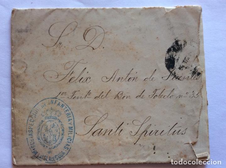 SOBRE CIRCULADO A SANTI SPIRITUS.INFANTERÍA Y MILICIAS,ISLA DE CUBA.AUTOGRAFO MARQUES DE ?? (Sellos - España - Alfonso XII de 1.875 a 1.885 - Cartas)