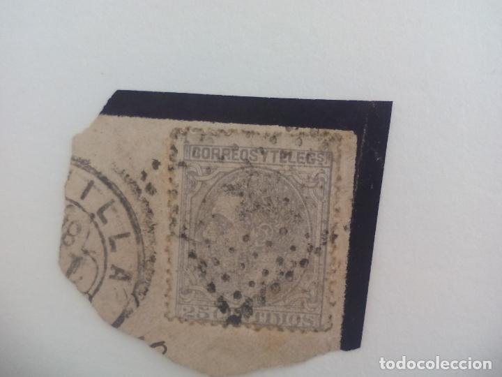 SELLO DE 25 CÉNTIMOS . MATASELLOS ROMBO DE PUNTOS . ESPAÑA - ALFONSO XII 1879 (Sellos - España - Alfonso XII de 1.875 a 1.885 - Usados)
