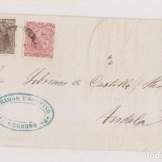 Sellos: CARTA DE LOGROÑO. RIOJA A TUDELA. NAVARRA. IMPUESTO DE GUERRA. 1879. AMBULANTE. RAMOS Y SOBRINO. Lote 205898346
