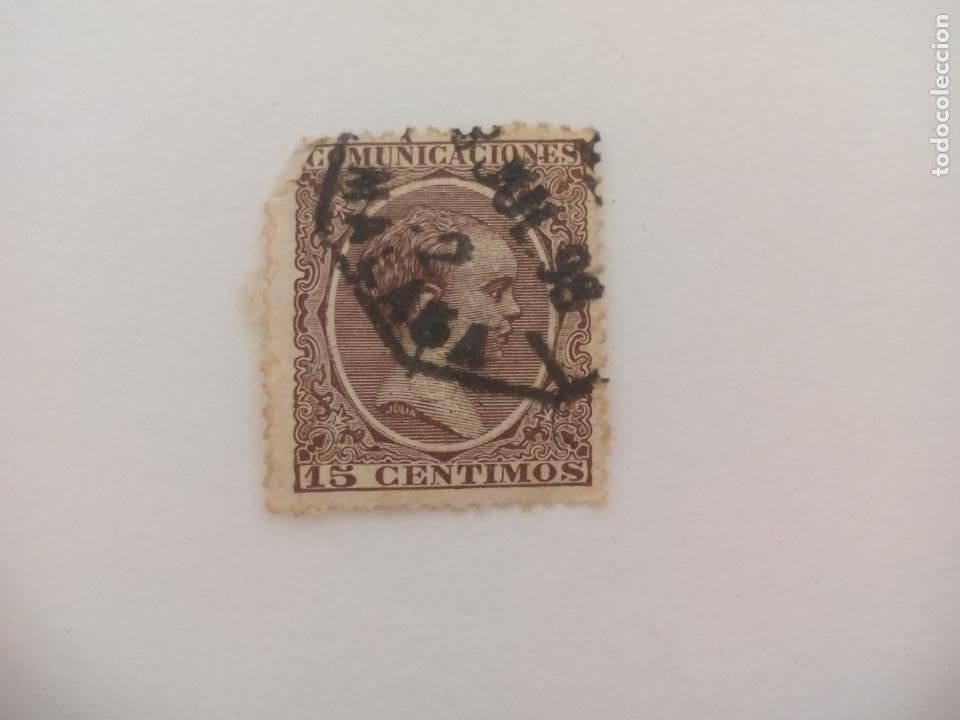 SELLO ALFONSO XII. MATASELLOS MALAGA. PELON, 15 CENTIMOS, 1889 (Sellos - España - Alfonso XII de 1.875 a 1.885 - Usados)