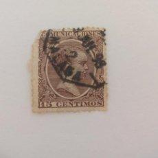 Sellos: SELLO ALFONSO XII. MATASELLOS MALAGA. PELON, 15 CENTIMOS, 1889. Lote 206276501
