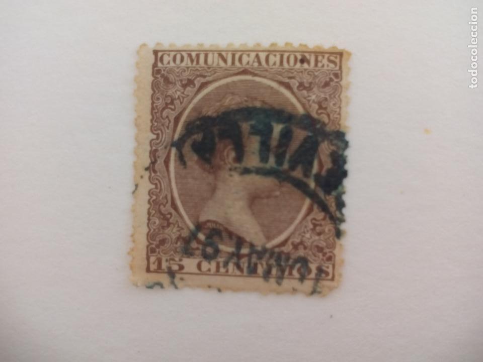 SELLO ALFONSO XII. MATASELLOS SEVILLA. PELON, 15 CENTIMOS, 1889 (Sellos - España - Alfonso XII de 1.875 a 1.885 - Usados)