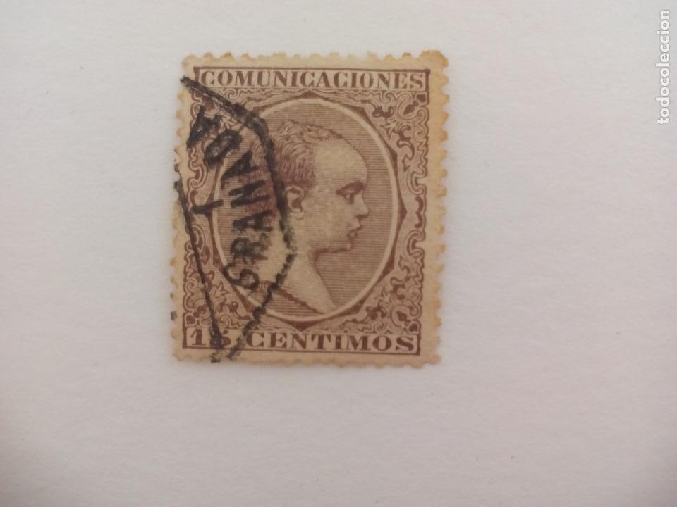 SELLO ALFONSO XII. MATASELLOS GRANADA. PELON, 15 CENTIMOS, 1889 (Sellos - España - Alfonso XII de 1.875 a 1.885 - Usados)