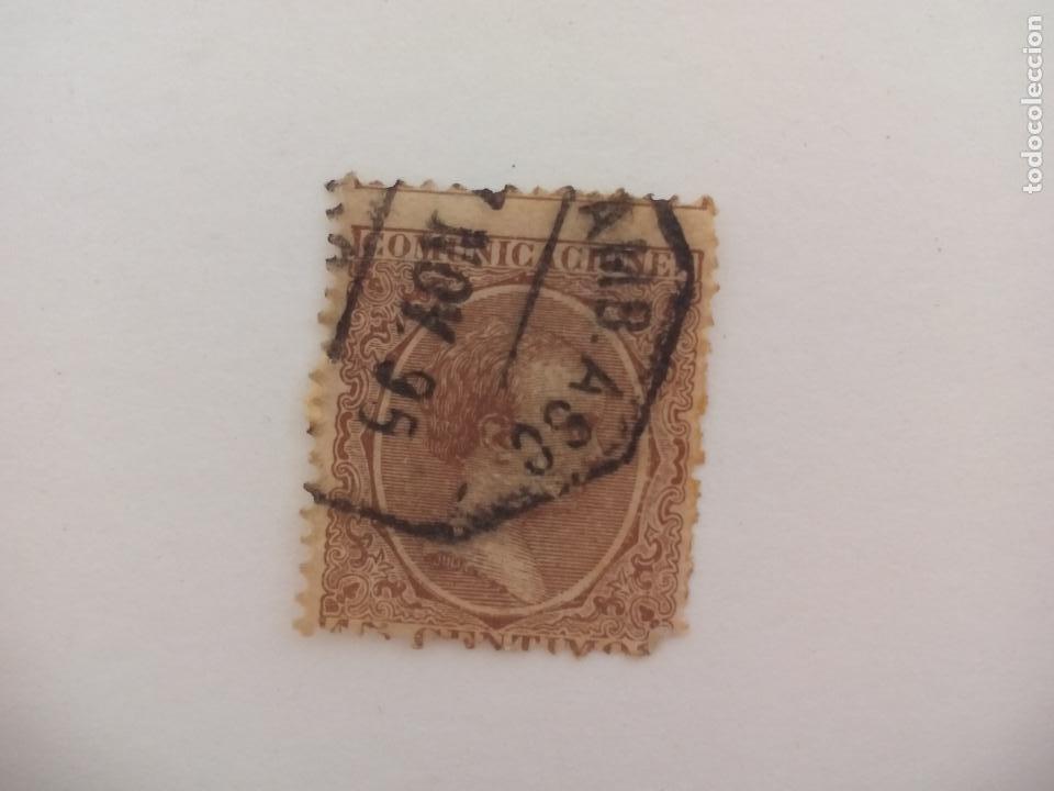 SELLO ALFONSO XII. MATASELLOS AMB. ASC. FERROCARRIL? MALAGA. PELON, 15 CENTIMOS, 1889 (Sellos - España - Alfonso XII de 1.875 a 1.885 - Usados)
