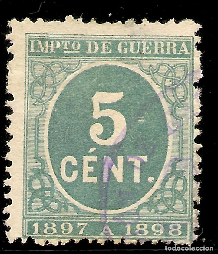 ESPAÑA EDIFIL 232 (º) 5 CÉNTIMOS VERDE CIFRAS 1897 NL576 (Sellos - España - Alfonso XII de 1.875 a 1.885 - Usados)