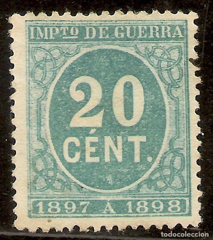 ESPAÑA EDIFIL 235* MH 20 CÉNTIMOS VERDE CIFRAS 1897 NL1009 (Sellos - España - Alfonso XII de 1.875 a 1.885 - Usados)