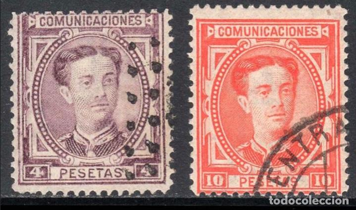 Sellos: 1876 - España Alfonso XII. Filigrana castillo - Edifil 174/182 - Foto 4 - 208867073