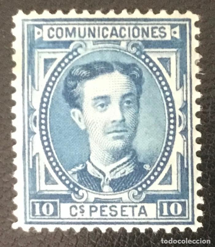 1876-ESPAÑA - ALFONSO XII EDIFIL 175 A (2ª TIRADA) MH* - 10 CÉNTIMOS AZUL - PIEZA DE LUJO (Sellos - España - Alfonso XII de 1.875 a 1.885 - Nuevos)