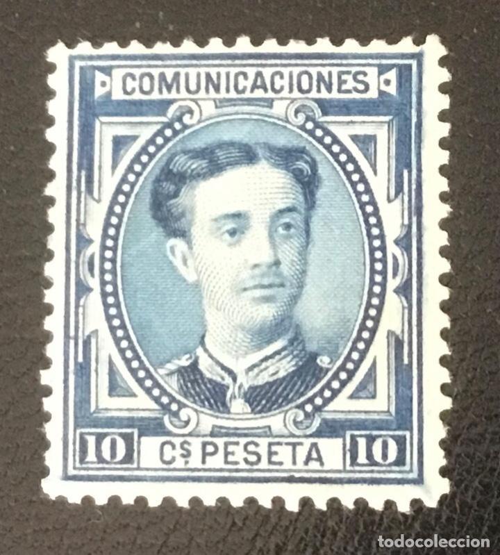 1876-ESPAÑA - ALFONSO XII EDIFIL 175 MH* - 10 CÉNTIMOS AZUL - PIEZA DE LUJO (Sellos - España - Alfonso XII de 1.875 a 1.885 - Nuevos)