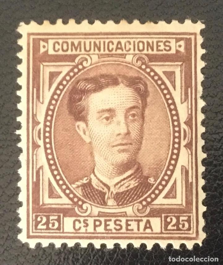1876-ESPAÑA - ALFONSO XII EDIFIL 177 MH* - 25 CÉNTIMOS CATAÑO ROJIZO - PIEZA DE LUJO (Sellos - España - Alfonso XII de 1.875 a 1.885 - Nuevos)