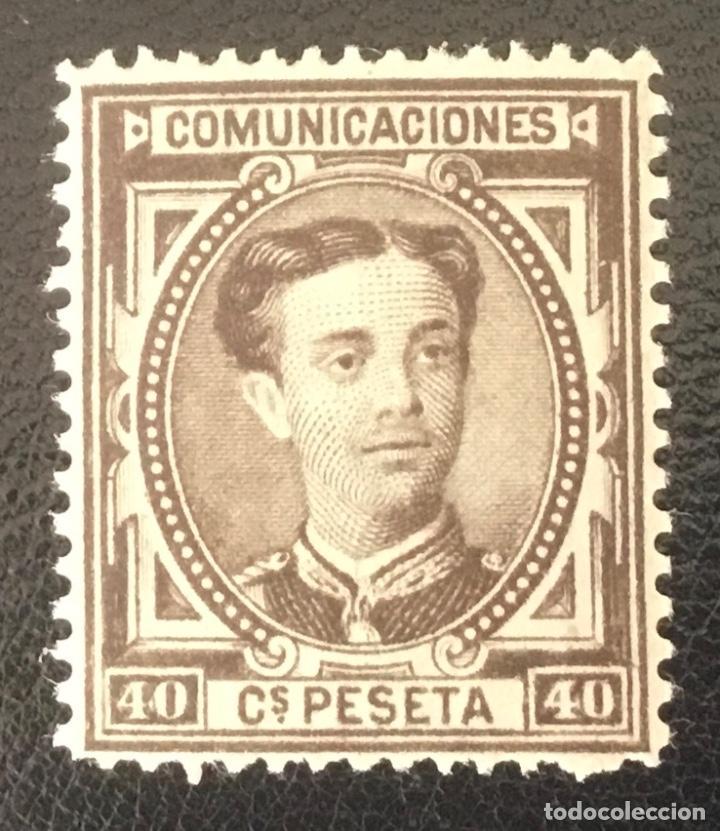 1876-ESPAÑA - ALFONSO XII EDIFIL 178 MH* - 40 CÉNTIMOS CATAÑO NEGRO - MAGINIFICO (Sellos - España - Alfonso XII de 1.875 a 1.885 - Nuevos)