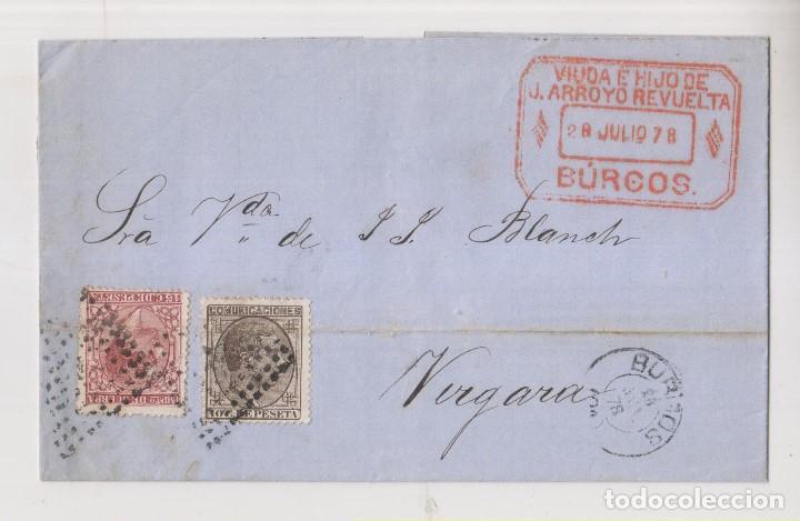 ENVUELTA. 1878. BURGOS A VERGARA. IMPUESTO DE GUERRA. MARCA COMERCIAL (Sellos - España - Alfonso XII de 1.875 a 1.885 - Cartas)