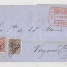 Timbres: ENVUELTA. 1878. BURGOS A VERGARA. IMPUESTO DE GUERRA. MARCA COMERCIAL. Lote 209625420