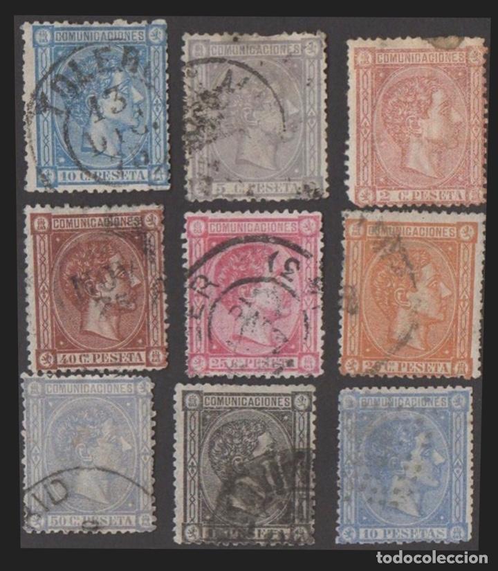 1875-ESPAÑA ALFONSO XII EDIFIL 162/169 Y 171 SERIE COMPLETA A FALTA DE 170 - USADO - VC: 2909 € (Sellos - España - Alfonso XII de 1.875 a 1.885 - Nuevos)