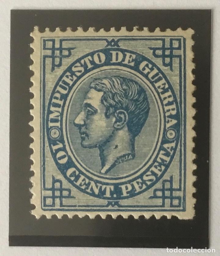 1876-ESPAÑA ALFONSO XII EDIFIL 184 MH* 10 CENTIMOS AZUL IMPUESTO DE GUERRA - NUEVO - (Sellos - España - Alfonso XII de 1.875 a 1.885 - Nuevos)