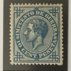Francobolli: 1876-ESPAÑA ALFONSO XII EDIFIL 184 MH* 10 CENTIMOS AZUL IMPUESTO DE GUERRA - NUEVO -. Lote 210311703