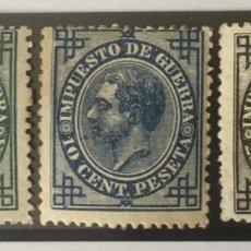 Sellos: 1876-ESPAÑA ALFONSO XII EDIFIL 183, 184 Y 185 MH* IMPUESTO DE GUERRA - NUEVO -. Lote 210312175