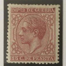Selos: 1877-ESPAÑA ALFONSO XII EDIFIL 188 MH* 15 CENTIMOS CAMÍN - IMPUESTO DE GUERRA - NUEVO -. Lote 210312608