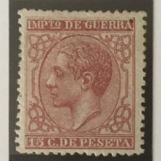 Sellos: 1877-ESPAÑA ALFONSO XII EDIFIL 188 MH* 15 CENTIMOS CAMÍN - IMPUESTO DE GUERRA - NUEVO -. Lote 210312608