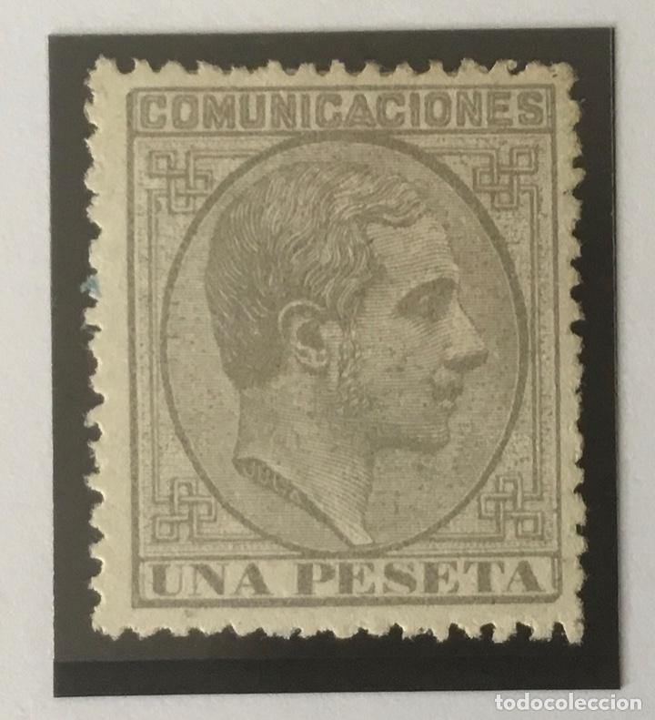 1878-ESPAÑA ALFONSO XII EDIFIL 197 (*) 1 PESETA GRIS - NUEVO - (Sellos - España - Alfonso XII de 1.875 a 1.885 - Nuevos)