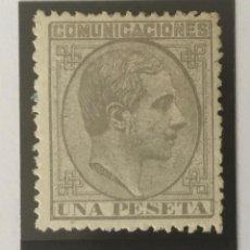 Sellos: 1878-ESPAÑA ALFONSO XII EDIFIL 197 (*) 1 PESETA GRIS - NUEVO -. Lote 210316481