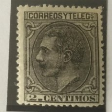 Sellos: 1879-ESPAÑA ALFONSO XII EDIFIL 200 MNH** 2 CÉNTIMOS. NEGRO GRISÁCEO - NUEVO SIN CHARNELA -. Lote 210378320