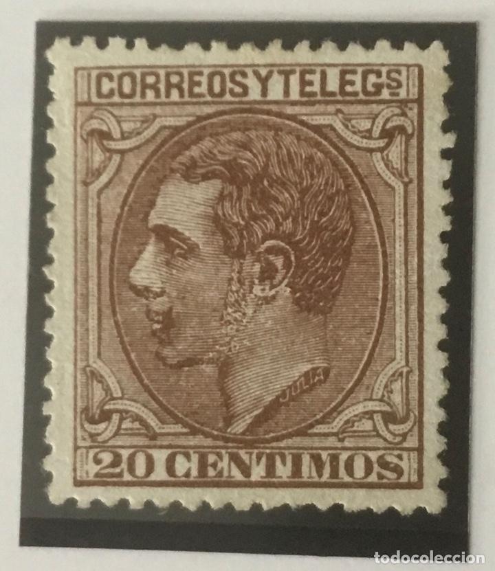 1879-ESPAÑA ALFONSO XII EDIFIL 203 (*) 20 CÉNTIMOS CASTAÑO ROJIZO - NUEVO - (Sellos - España - Alfonso XII de 1.875 a 1.885 - Nuevos)