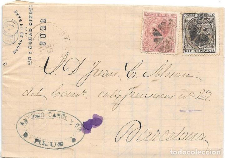 EDIFIL 192-188. ENVUELTA CIRCULADA DE REUS A BARCELONA. 1878 (Sellos - España - Alfonso XII de 1.875 a 1.885 - Cartas)
