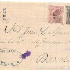 Timbres: EDIFIL 192-188. ENVUELTA CIRCULADA DE REUS A BARCELONA. 1878. Lote 210410691