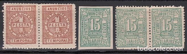 IMPUESTO MUNICIPAL, ANUNCIOS TEMPORAL. AYUNTAMIENTO DE MADRID, DISTINTOS TIPOS Y VALORES. (Sellos - España - Alfonso XII de 1.875 a 1.885 - Nuevos)