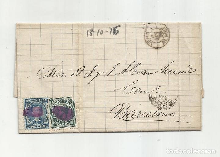 CIRCULADA Y ESCRITA 1876 DE GARRUCHA VERA ALMERIA A BARCELONA (Sellos - España - Alfonso XII de 1.875 a 1.885 - Cartas)