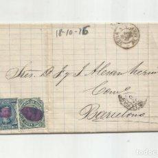 Sellos: CIRCULADA Y ESCRITA 1876 DE GARRUCHA VERA ALMERIA A BARCELONA. Lote 217435231