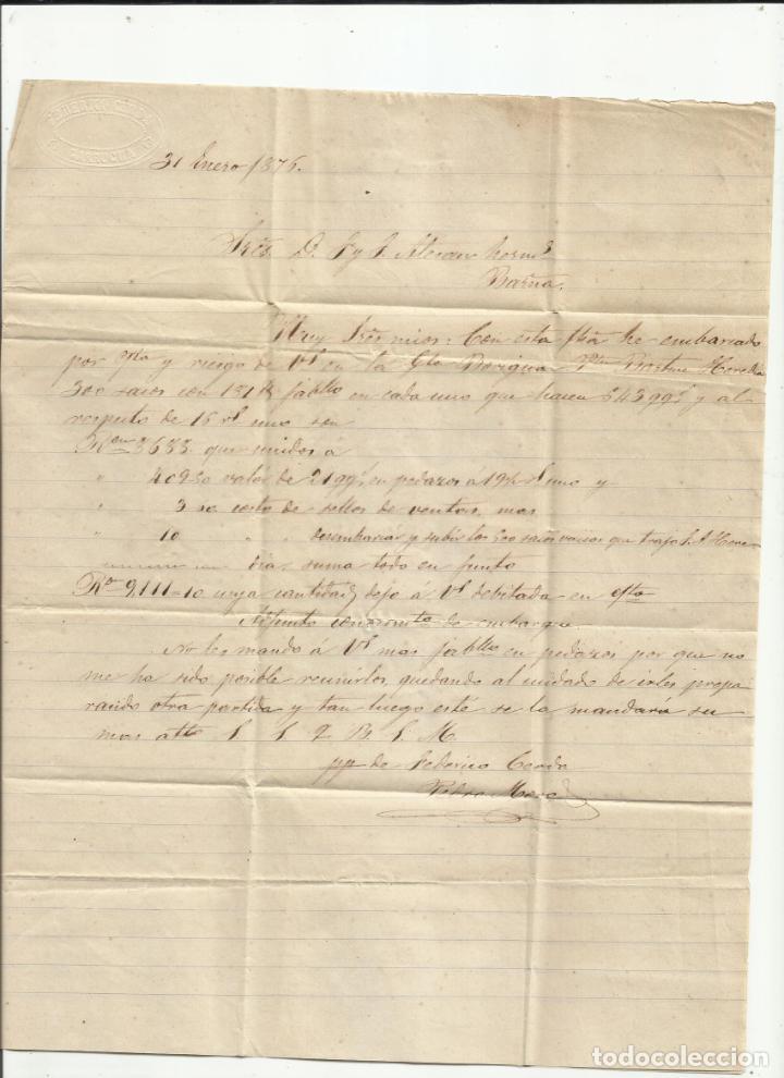 Sellos: circulada Y ESCRITA 1876 DE GARRUCHA VERA ALMERIA A BARCELONA FRANQUEO DE TRANSICION - Foto 2 - 217435658