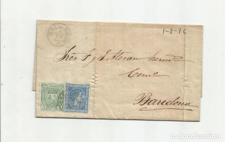 CIRCULADA Y ESCRITA 1876 DE GARRUCHA VERA ALMERIA A BARCELONA FRANQUEO DE TRANSICION (Sellos - España - Alfonso XII de 1.875 a 1.885 - Cartas)