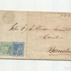 Sellos: CIRCULADA Y ESCRITA 1876 DE GARRUCHA VERA ALMERIA A BARCELONA FRANQUEO DE TRANSICION. Lote 217435658