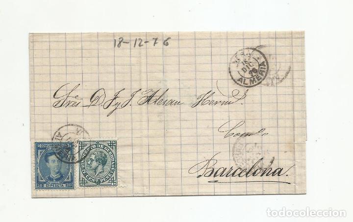 ENVUELTA CIRCULADA 1876 DE GARRUCHA VERA ALMERIA A BARCELONA (Sellos - España - Alfonso XII de 1.875 a 1.885 - Cartas)