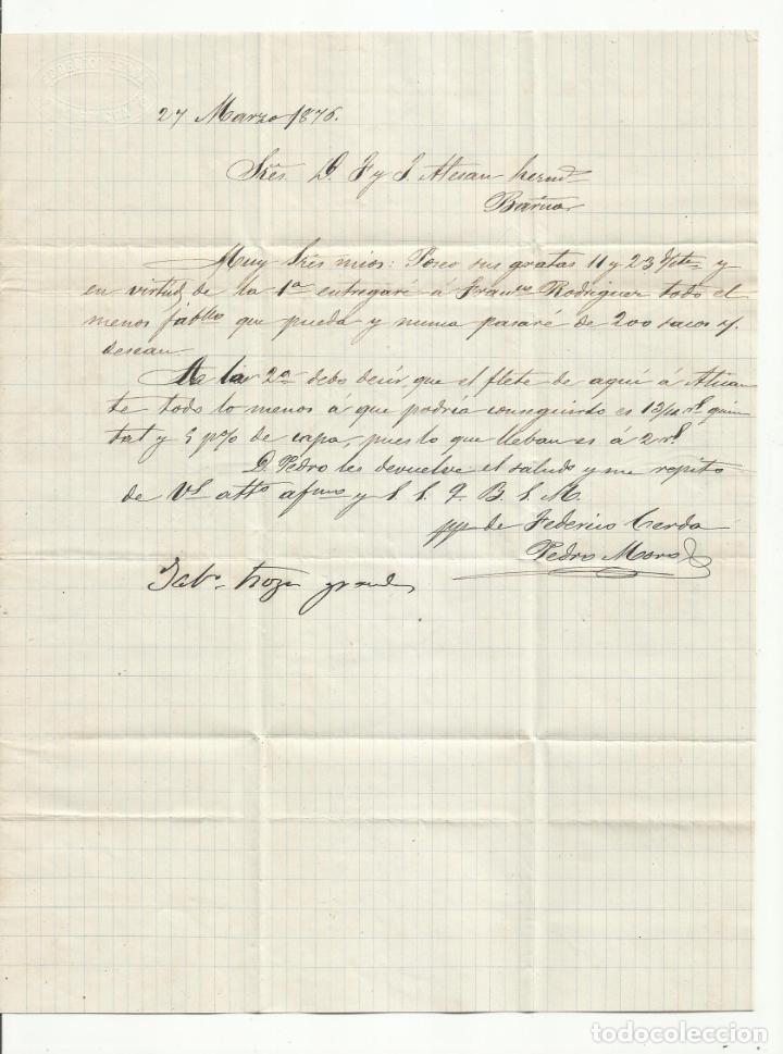 Sellos: circulada Y ESCRITA 1876 DE GARRUCHA VERA ALMERIA A BARCELONA FRANQUEO TRANSICION - Foto 2 - 217436130