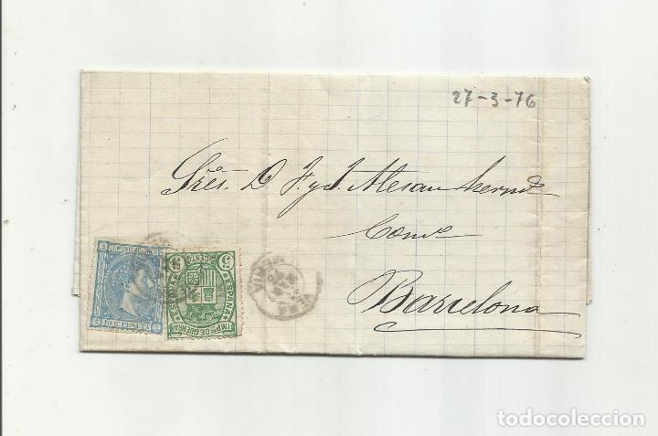 CIRCULADA Y ESCRITA 1876 DE GARRUCHA VERA ALMERIA A BARCELONA FRANQUEO TRANSICION (Sellos - España - Alfonso XII de 1.875 a 1.885 - Cartas)